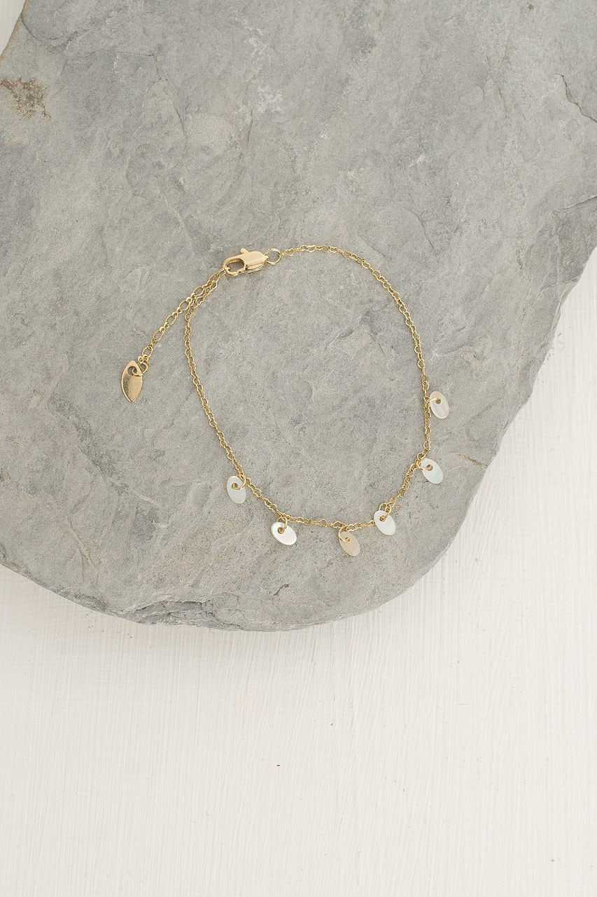 Mini Oval Pearls Bracelet, Gold Plated
