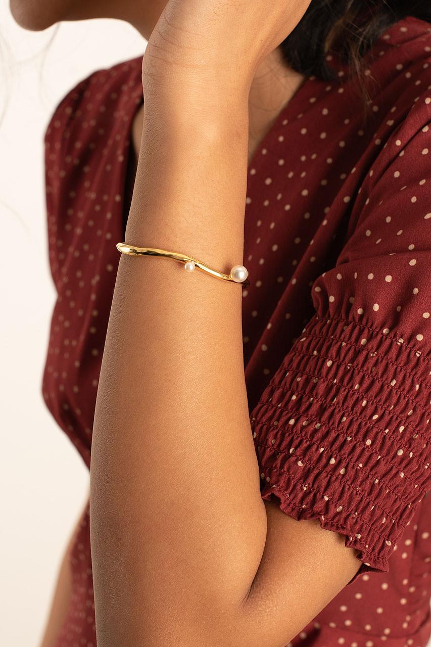 Luna Pearl Bracelet, Gold Plated