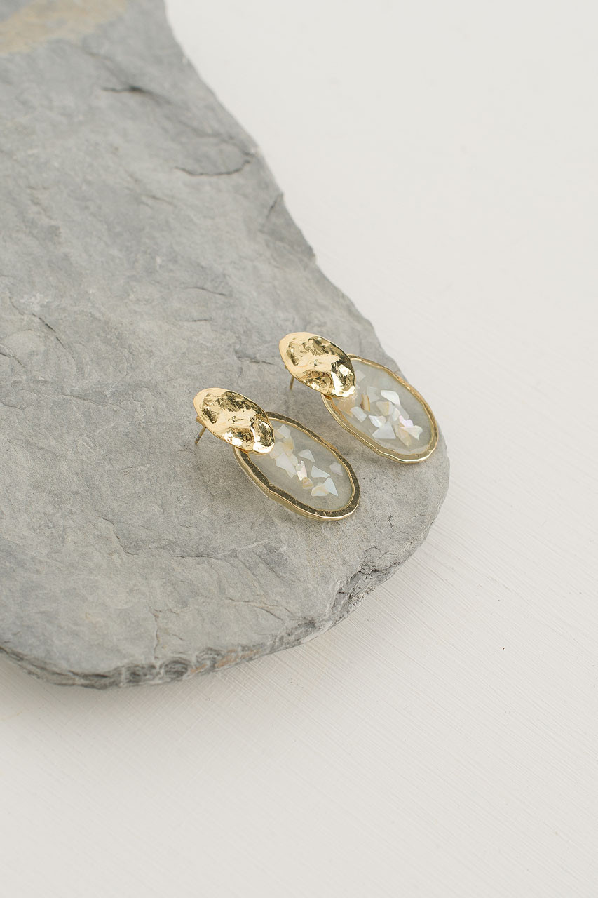 Fractal Drop Earrings, Gold Plated