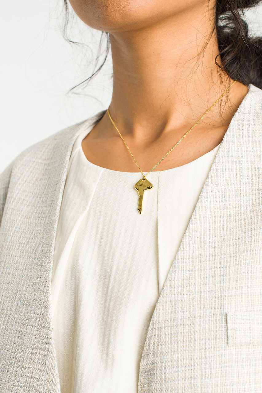 Key Drop Necklace, Gold Plated