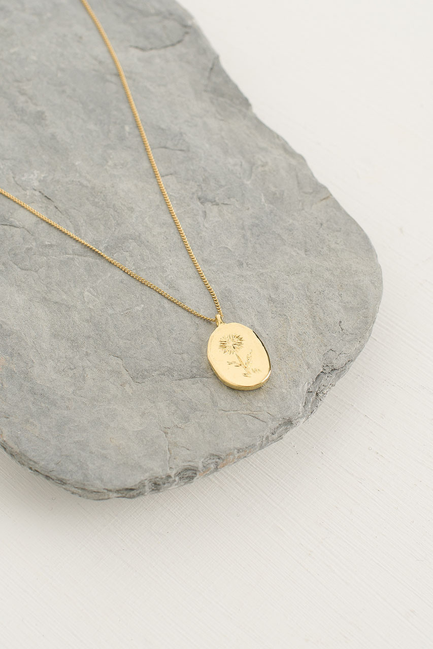 Wildflower Pendant Necklace, Gold Plated