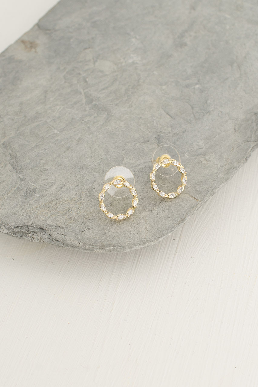 Dainty Jewel Circle Studs, Gold Plated