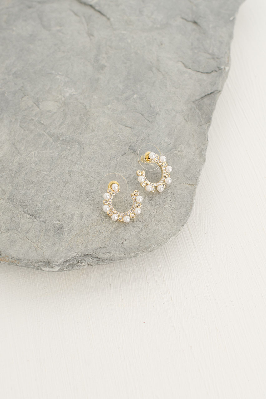 Pearl Horseshoe Studs, Gold Plated