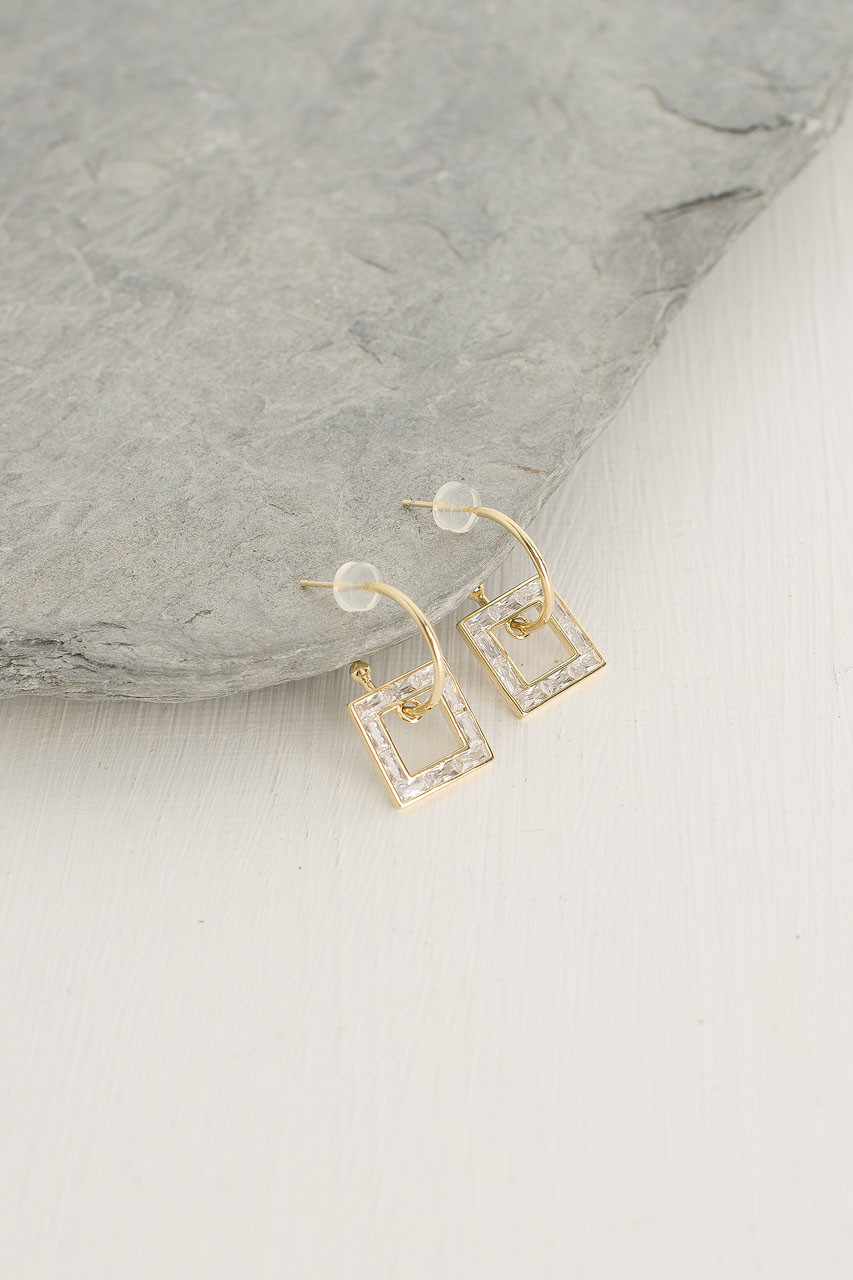 Dainty Square Drop Earrings, Gold Plated