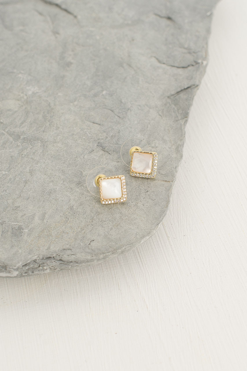 Honey Square Studs, Gold Plated