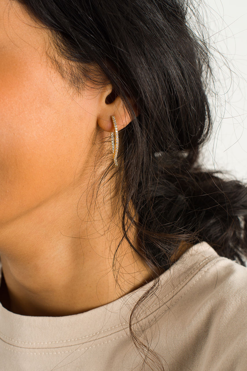 Grace Dainty Curve Bar Earrings, Gold Plated