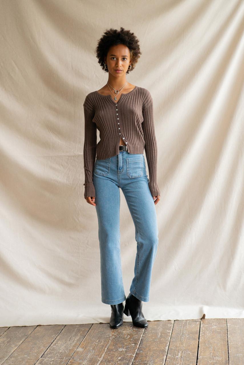 High Waist Retro Jean, Mid Blue