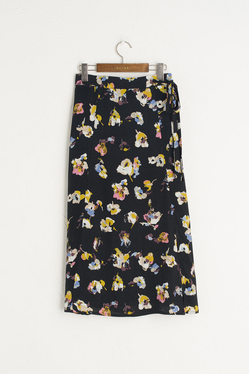 Painted Fleurs Skirt, Black