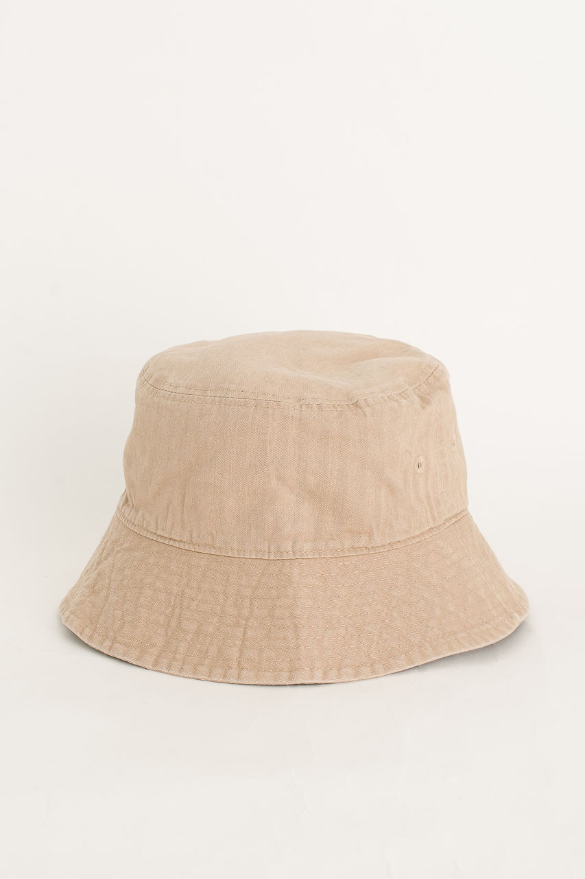 Washed Colour Brimmed Hat, Beige