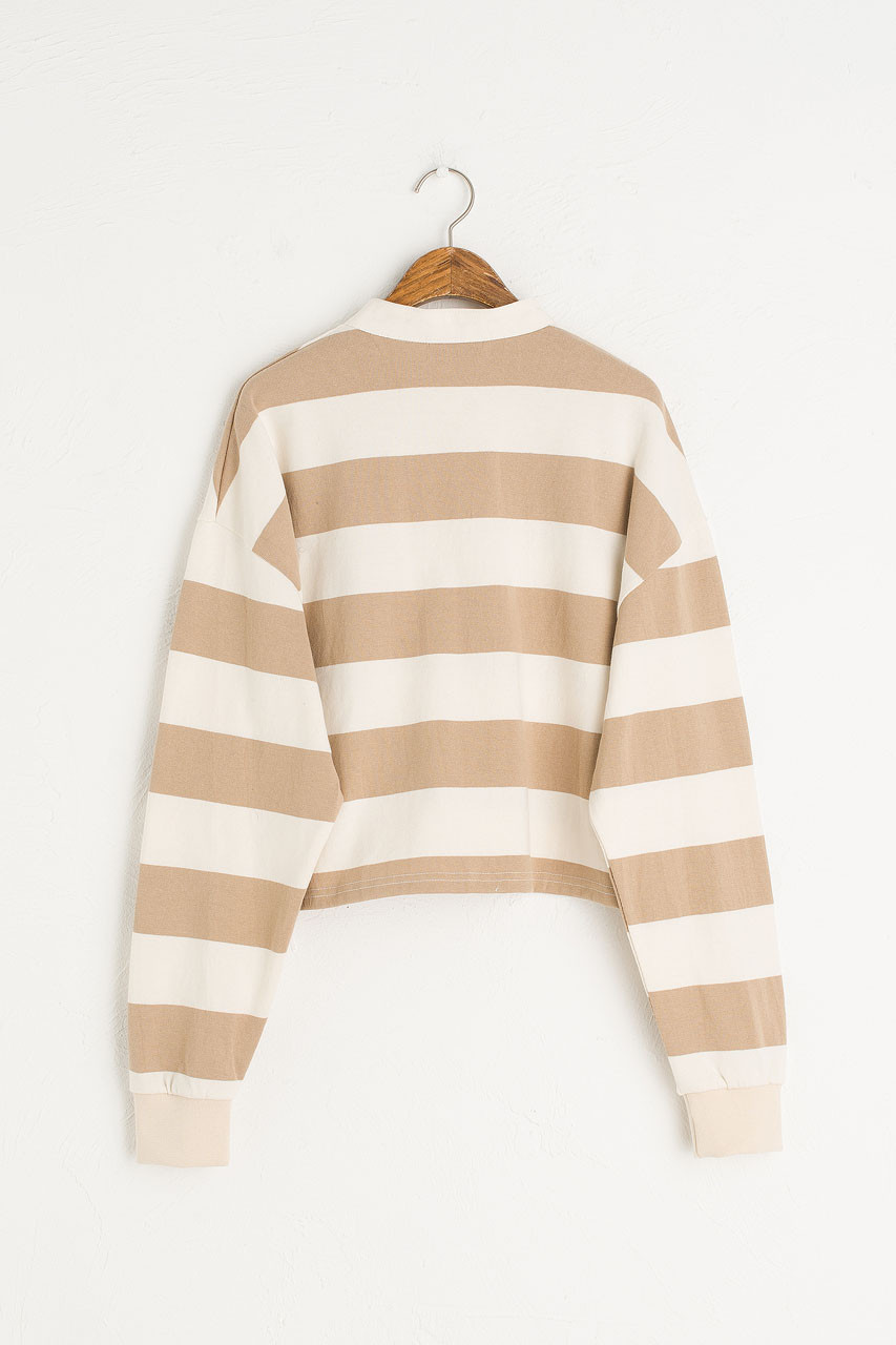 Cropped Rugby Tee, Ivory/Beige