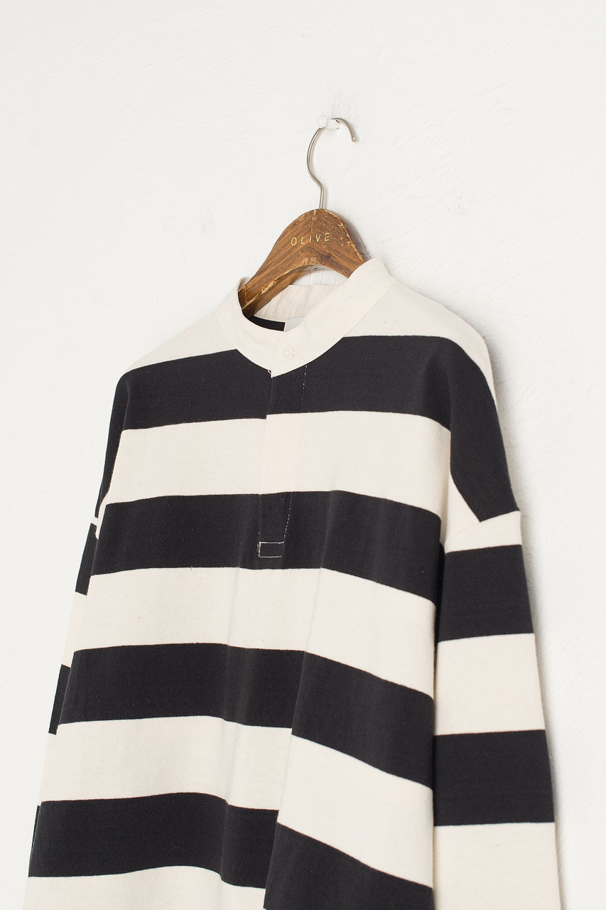 Cropped Rugby Tee, Ivory/Black