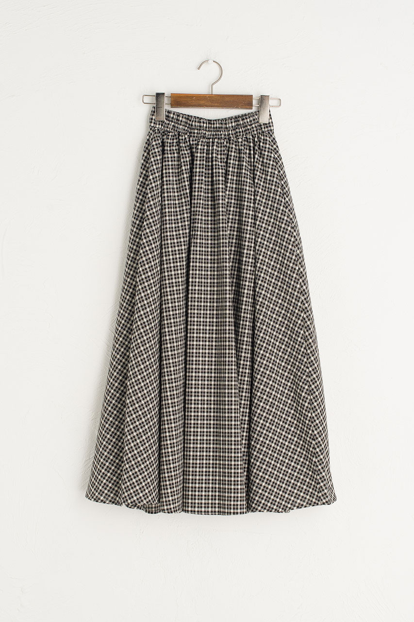 Marianne Check Skirt, Black