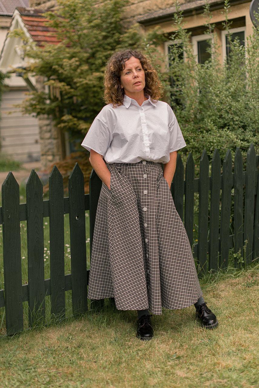 Marianne Check Skirt, Black