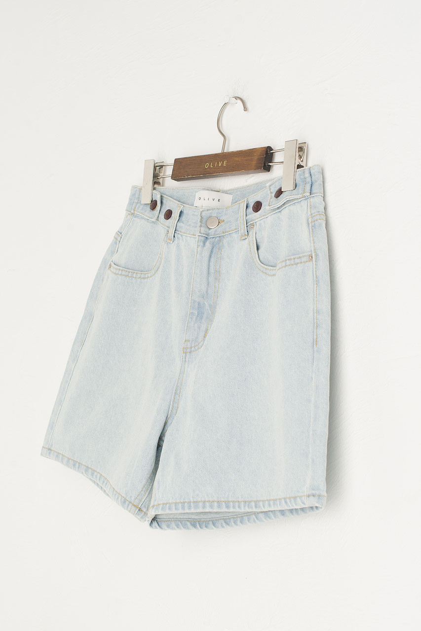 Boxy Denim Shorts, Light Blue