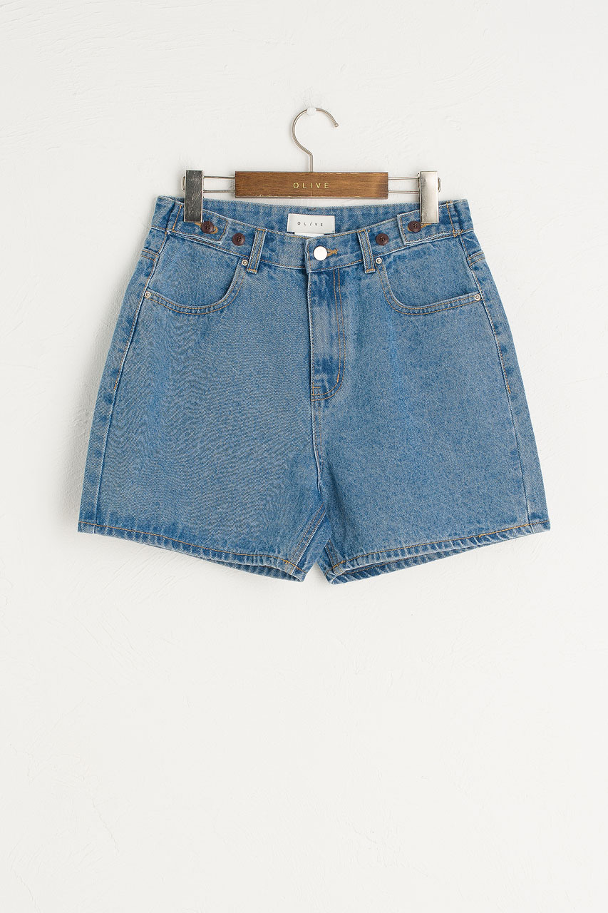 Boxy Denim Shorts, Mid Blue
