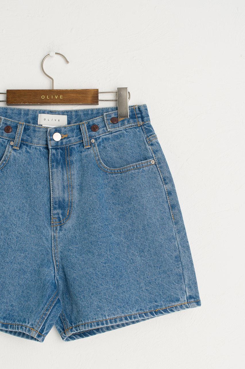 Boxy Denim Shorts, Mid Blue