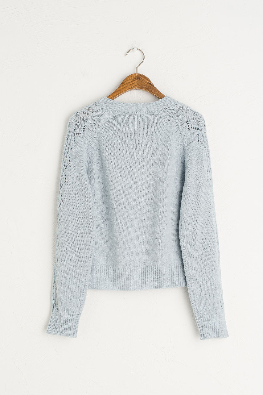 Lightweight Pompom Cardigan, Blue