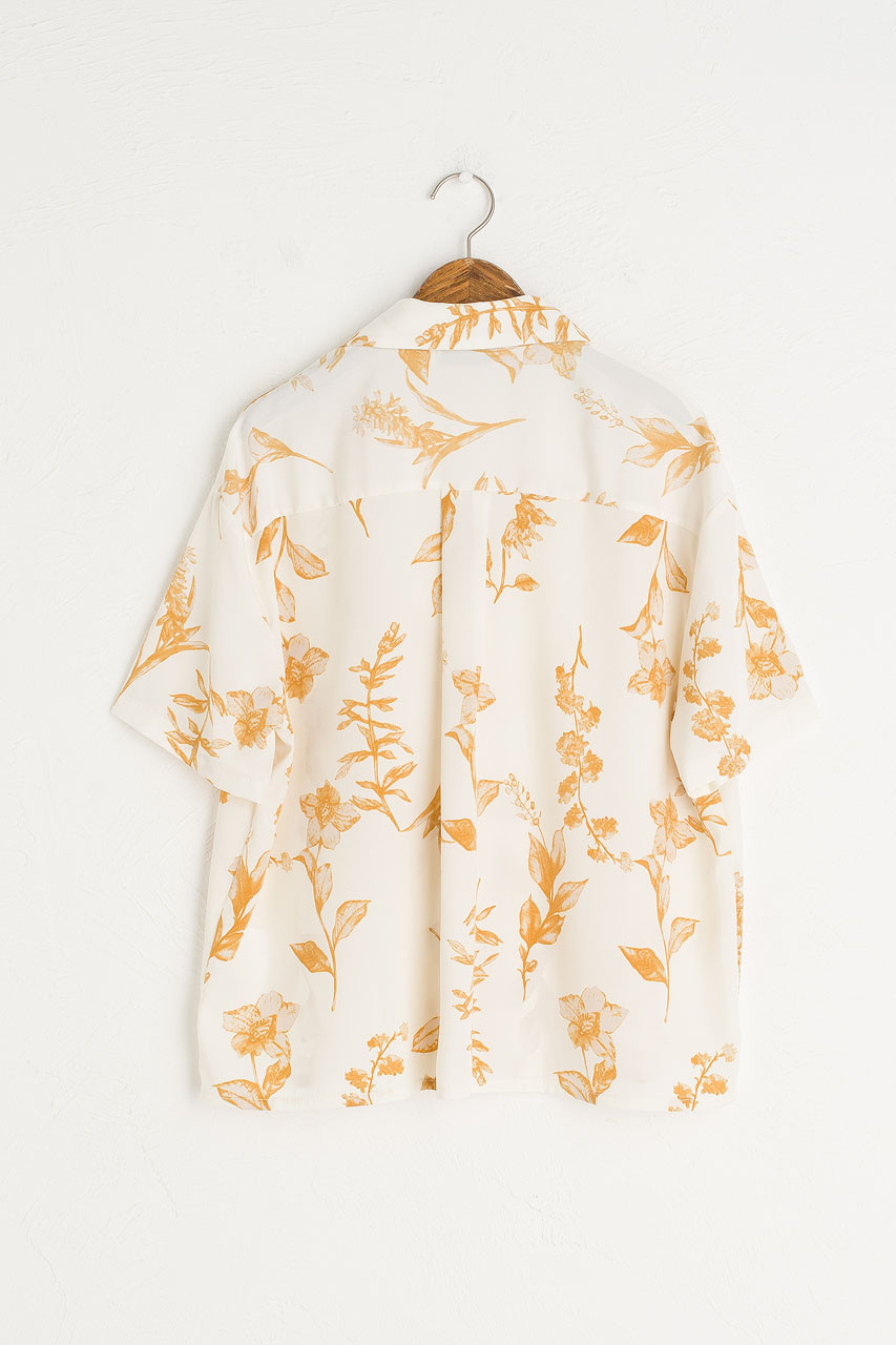 Flower Print Camp Shirt, Ivory