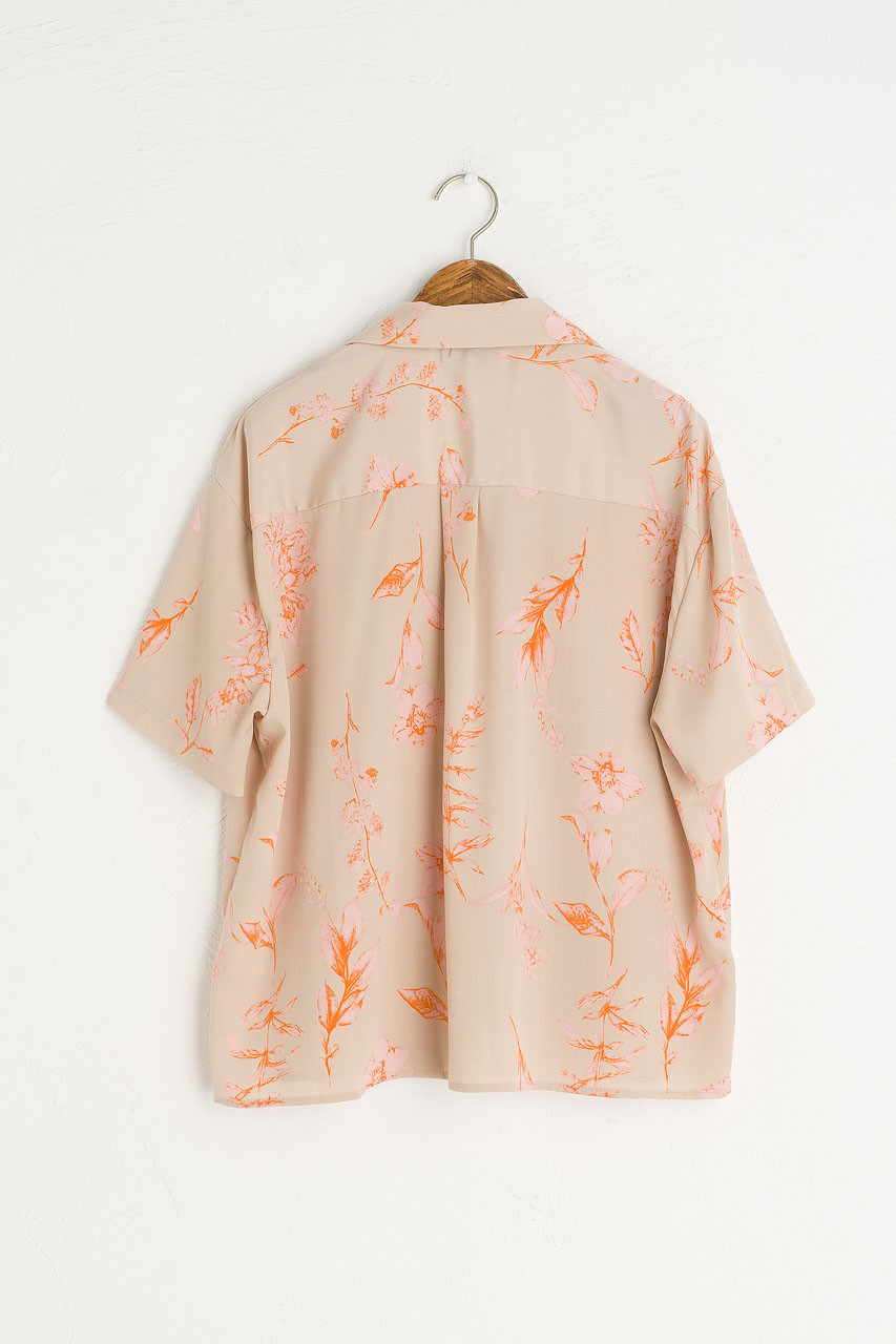 Flower Print Camp Shirt, Beige