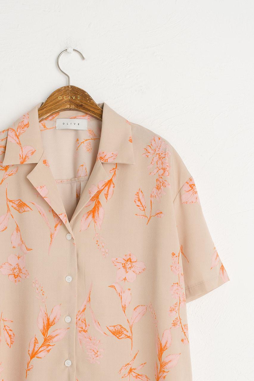 Flower Print Camp Shirt, Beige