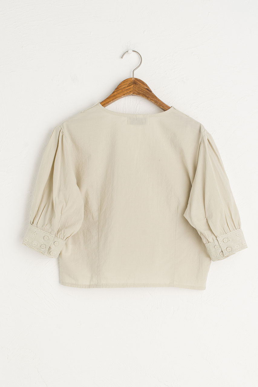 V Neck Lace Crop Blouse, Sage