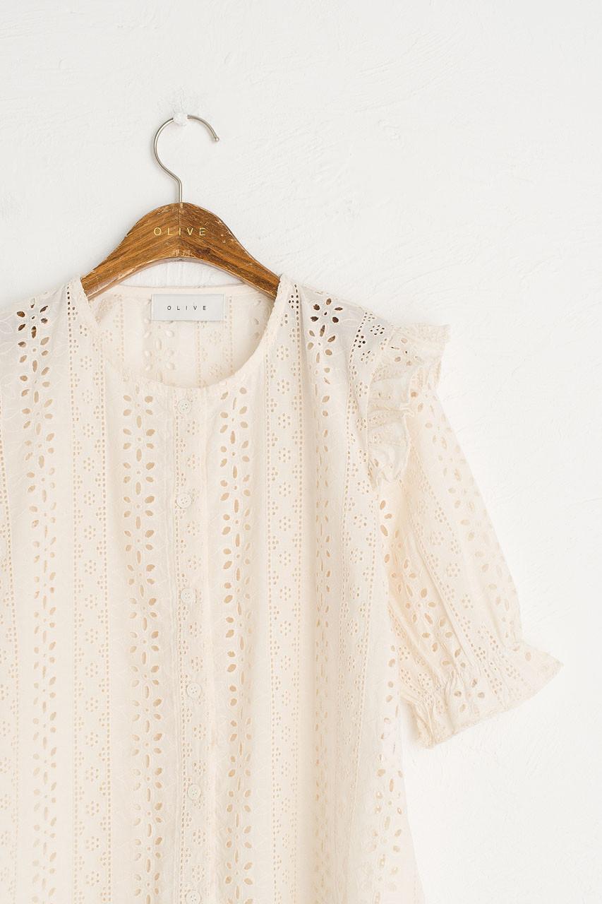 Frill Shoulder Lace Blouse, Beige