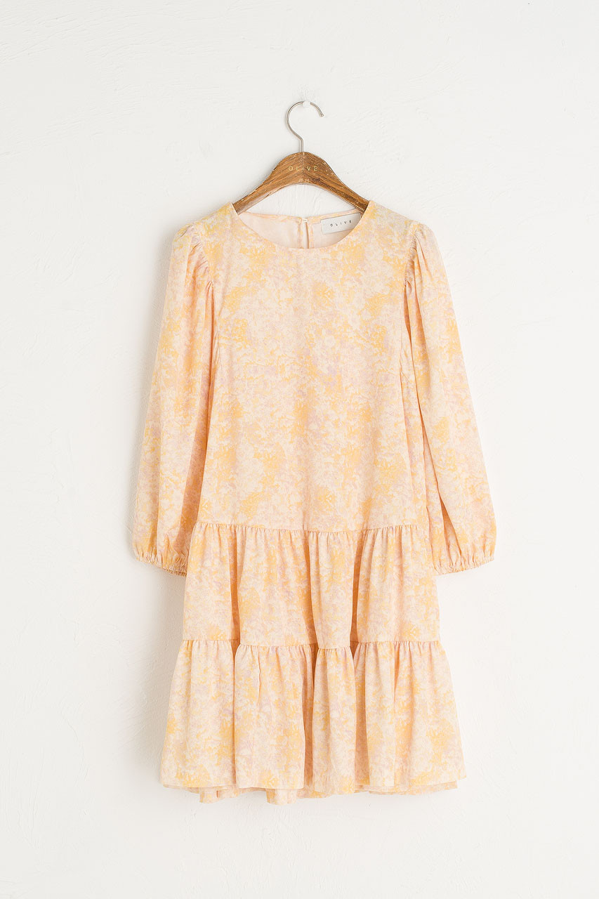 Tiered Flower Dress, Lemon