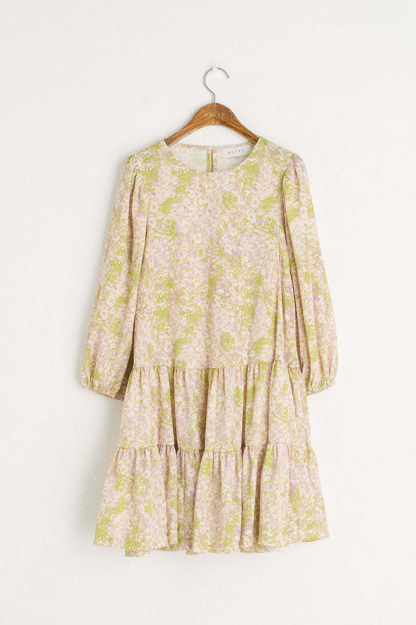 Tiered Flower Dress, Lime