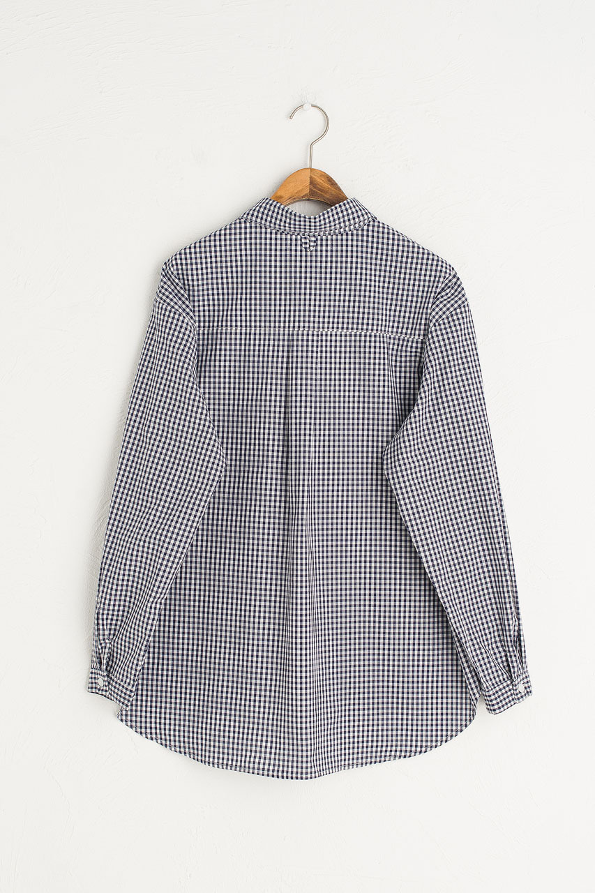 Billie Gingham Blouse, Navy