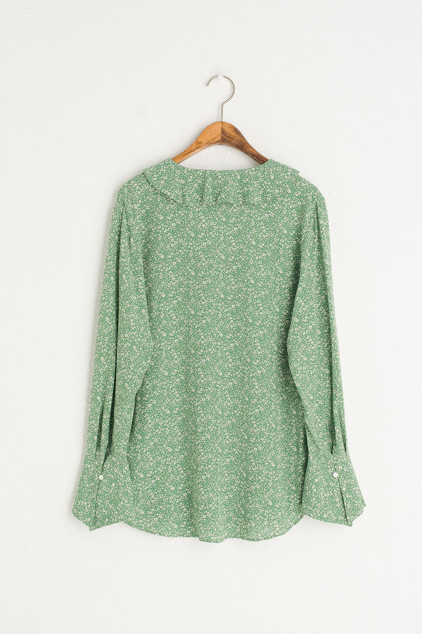 Ray Flower V Neck Blouse, Green