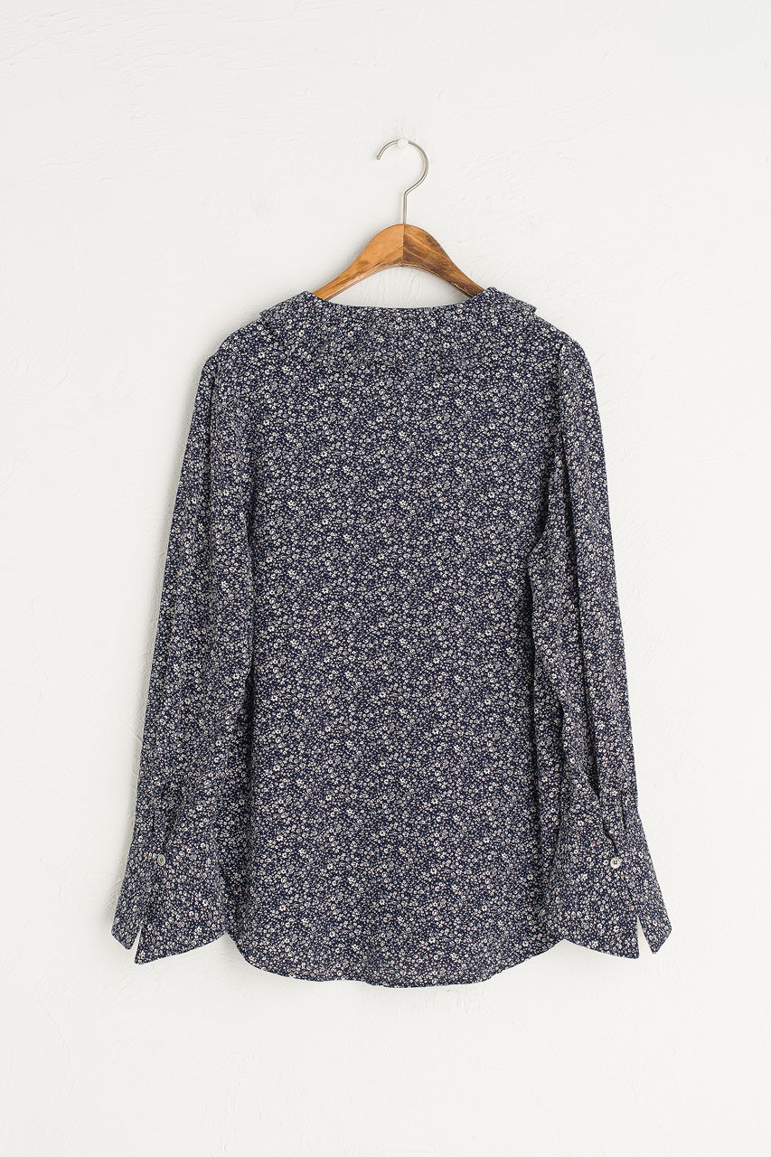 Ray Flower V Neck Blouse, Navy