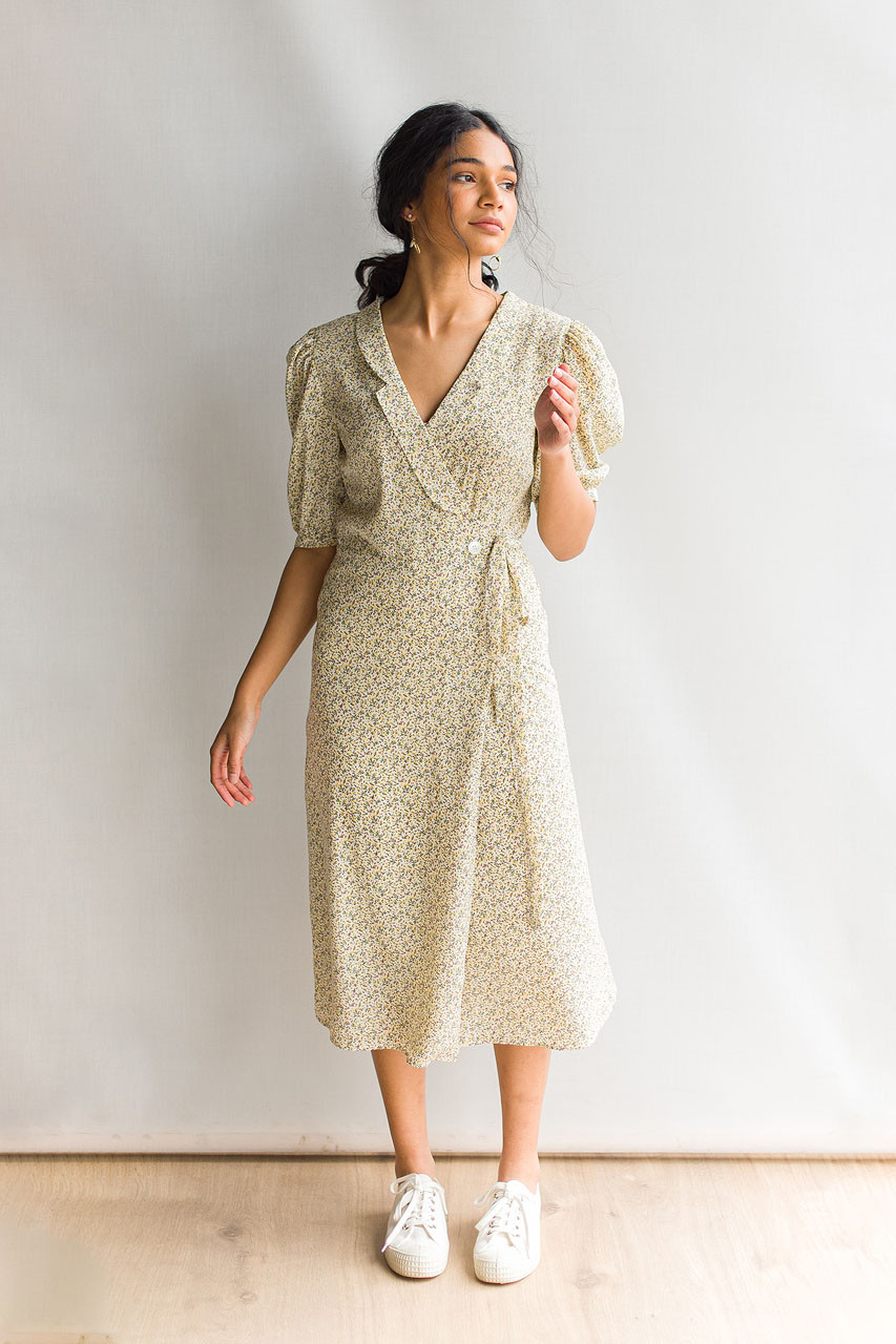 Jina Flower Wrap Dress, Ivory