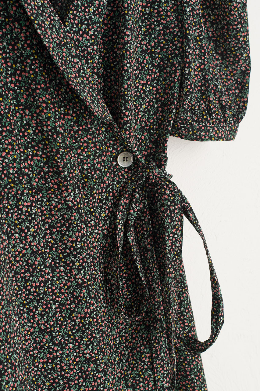 Jina Flower Wrap Dress, Black