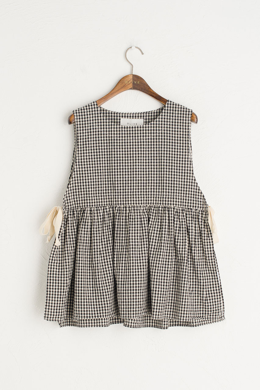 Faye Ribboned Vest, Black Gingham