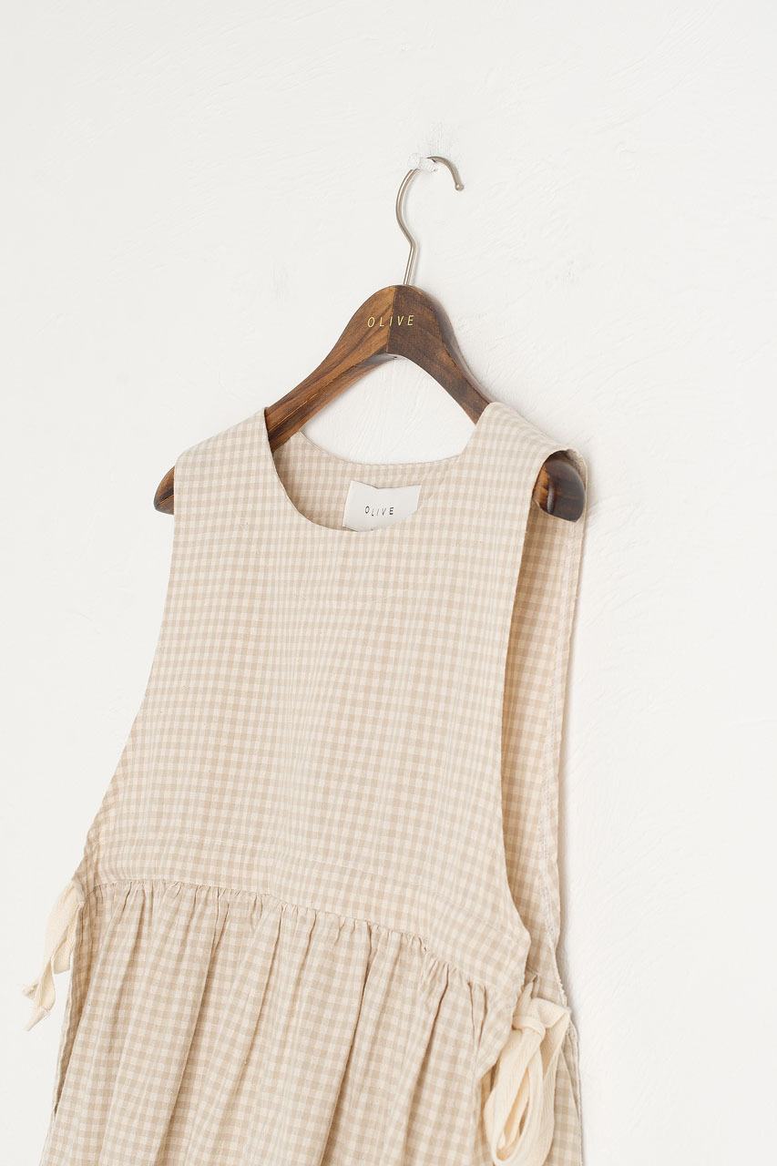 Faye Ribboned Vest, Beige Gingham