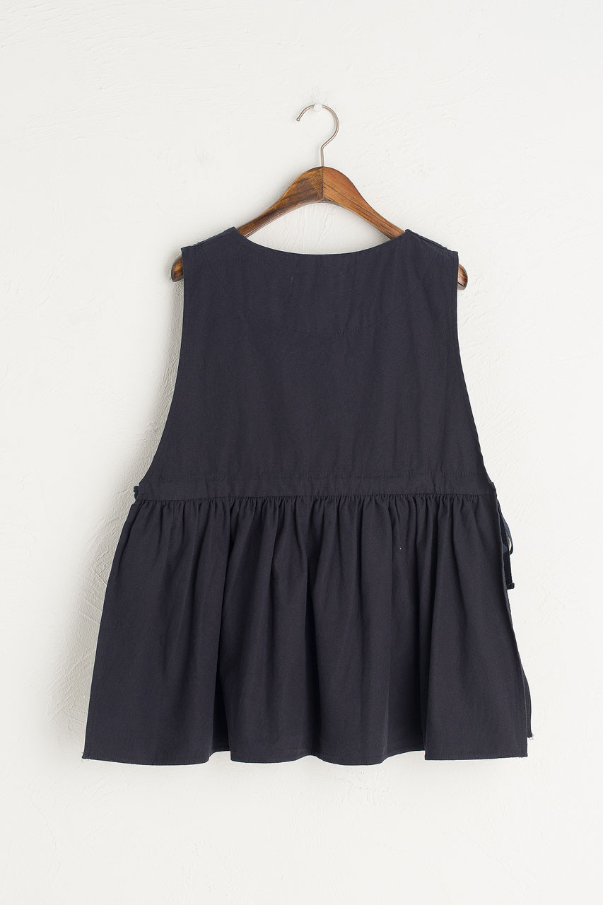 Faye Ribboned Vest, Navy