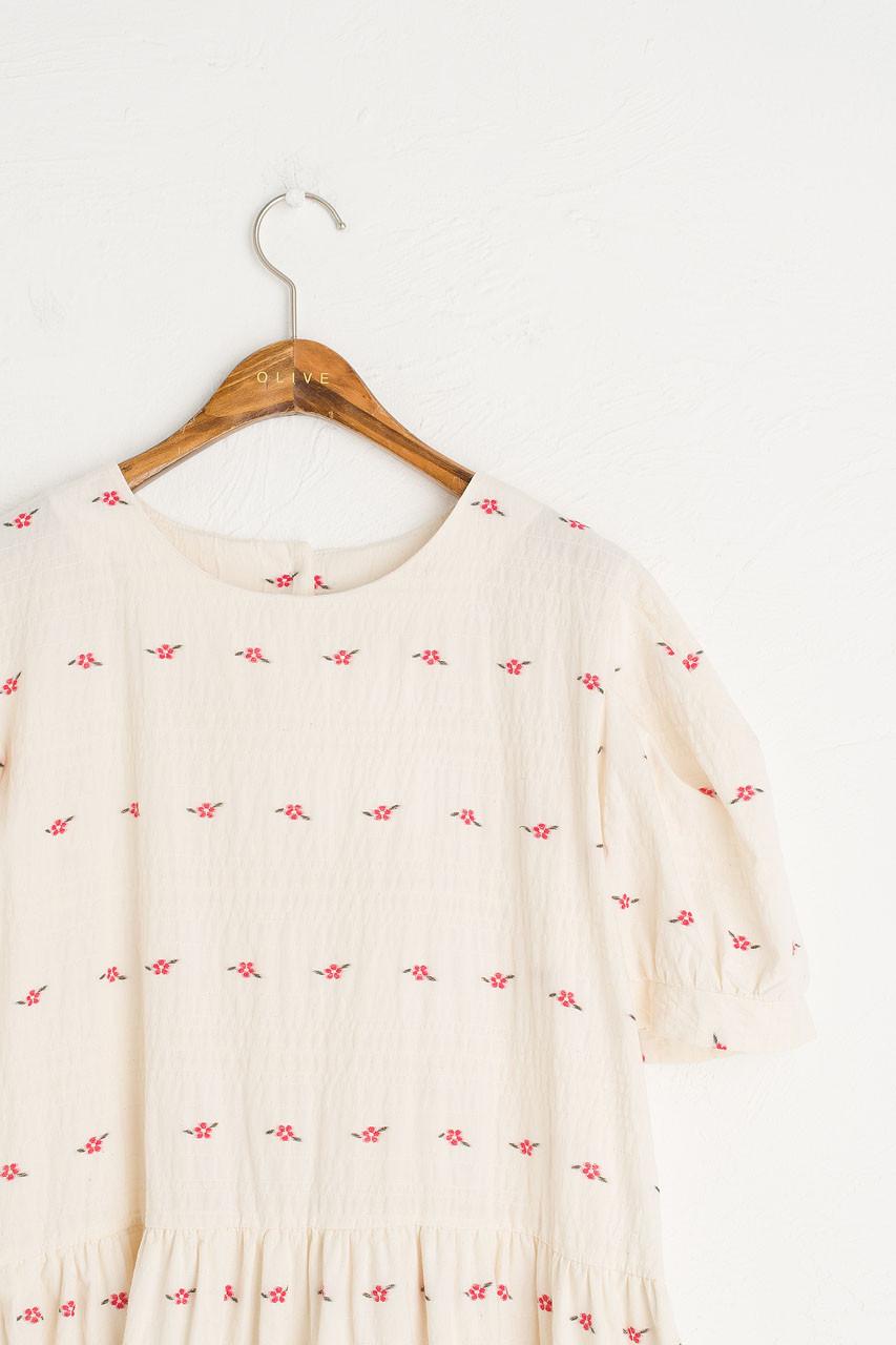 Rose Frilled Hem Dress, Ivory