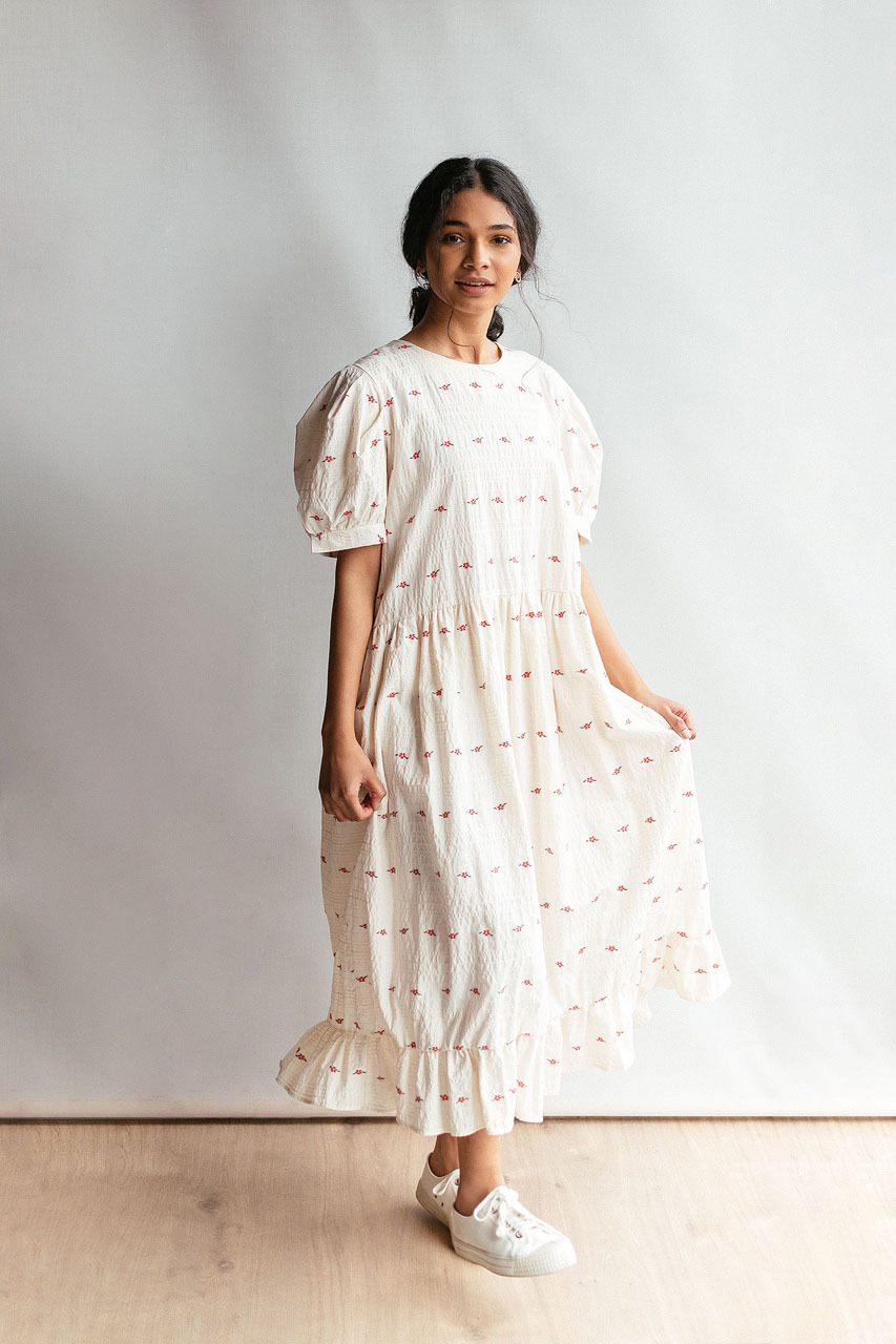 Rose Frilled Hem Dress, Ivory