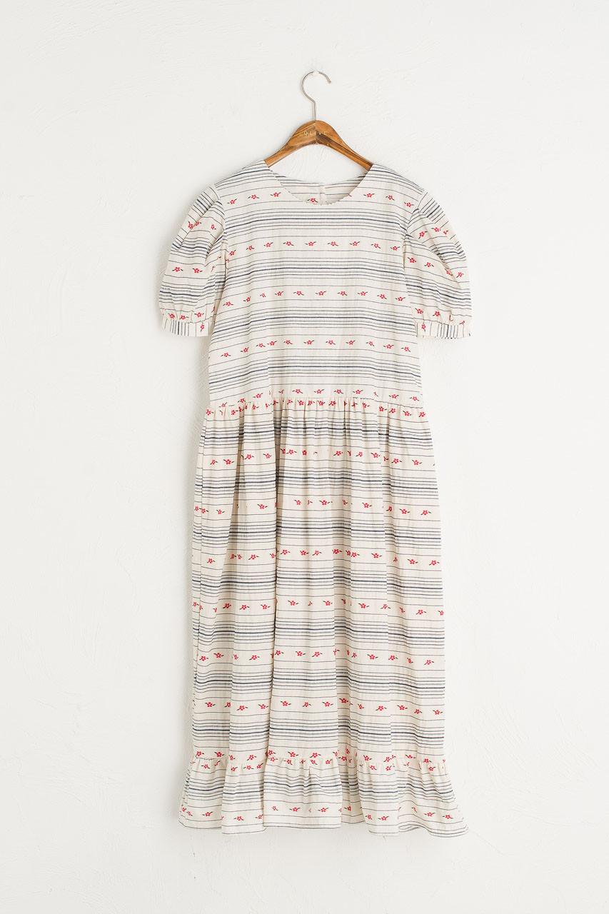 Rose Frilled Hem Dress, Stripe