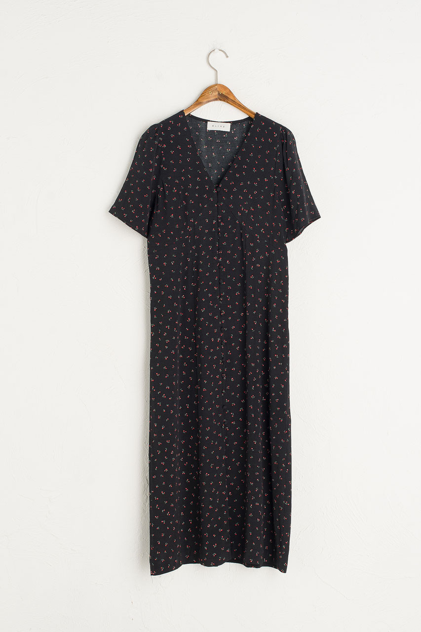 Wendy V Neck Flower Dress, Black
