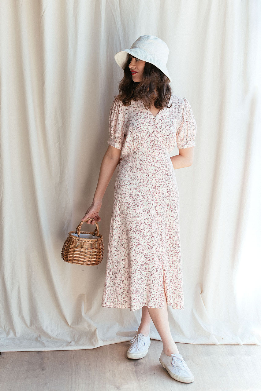 Tiny Heart Print Dress, Ivory