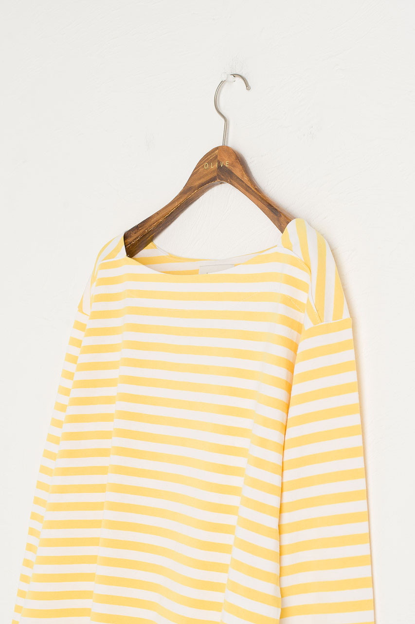 Loose Fit Stripe Tee, Ivory/Lemon