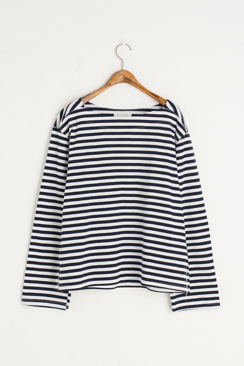 Loose Fit Stripe Tee, Ivory/Blue