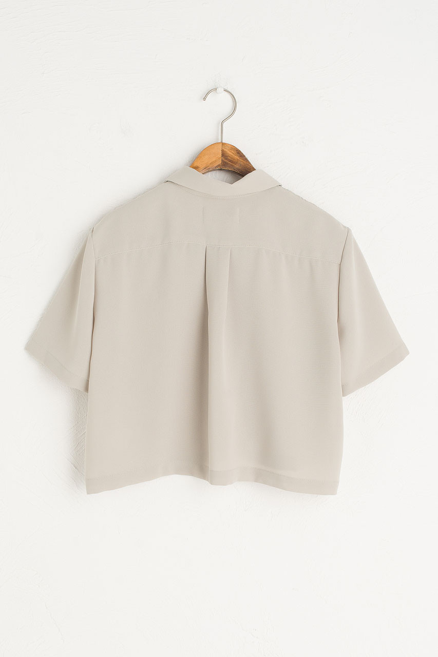 Shell Button Crop Blouse, Sage