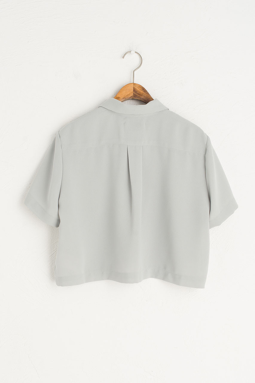 Shell Button Crop Blouse, Mint