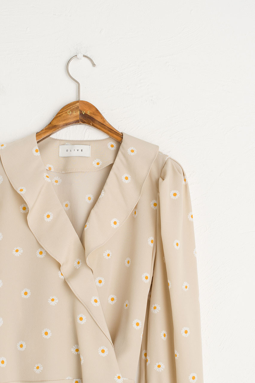 Daisy Frill Blouse, Beige