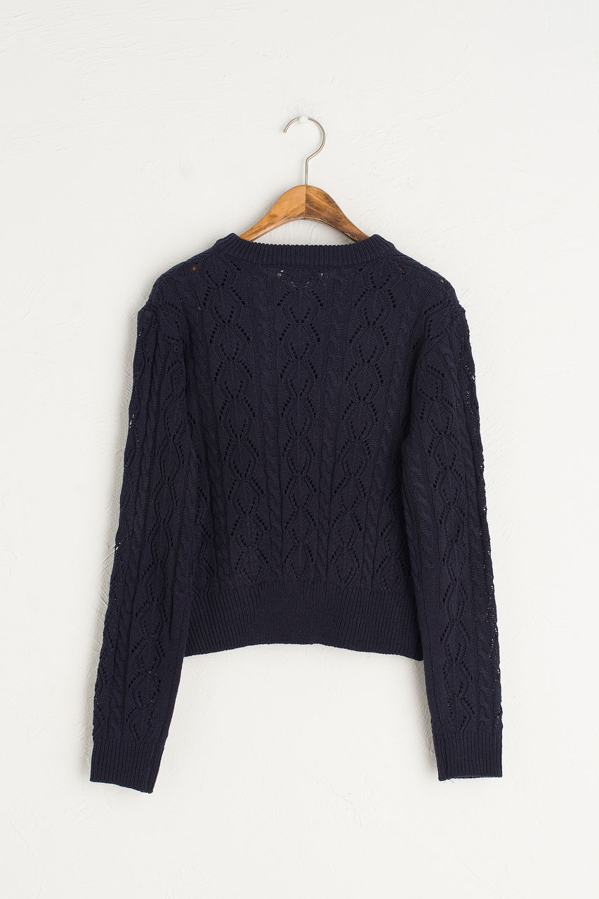 Wildflower Crochet Cardigan, Navy
