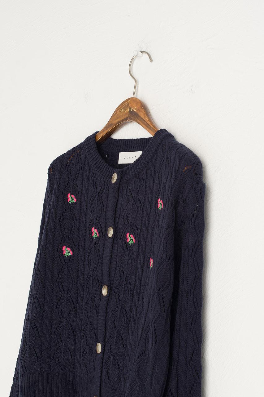 Wildflower Crochet Cardigan, Navy