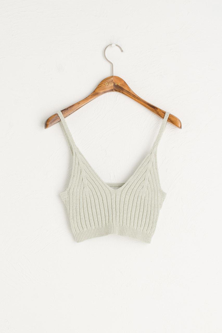 Knit Crop Bustier, Mint