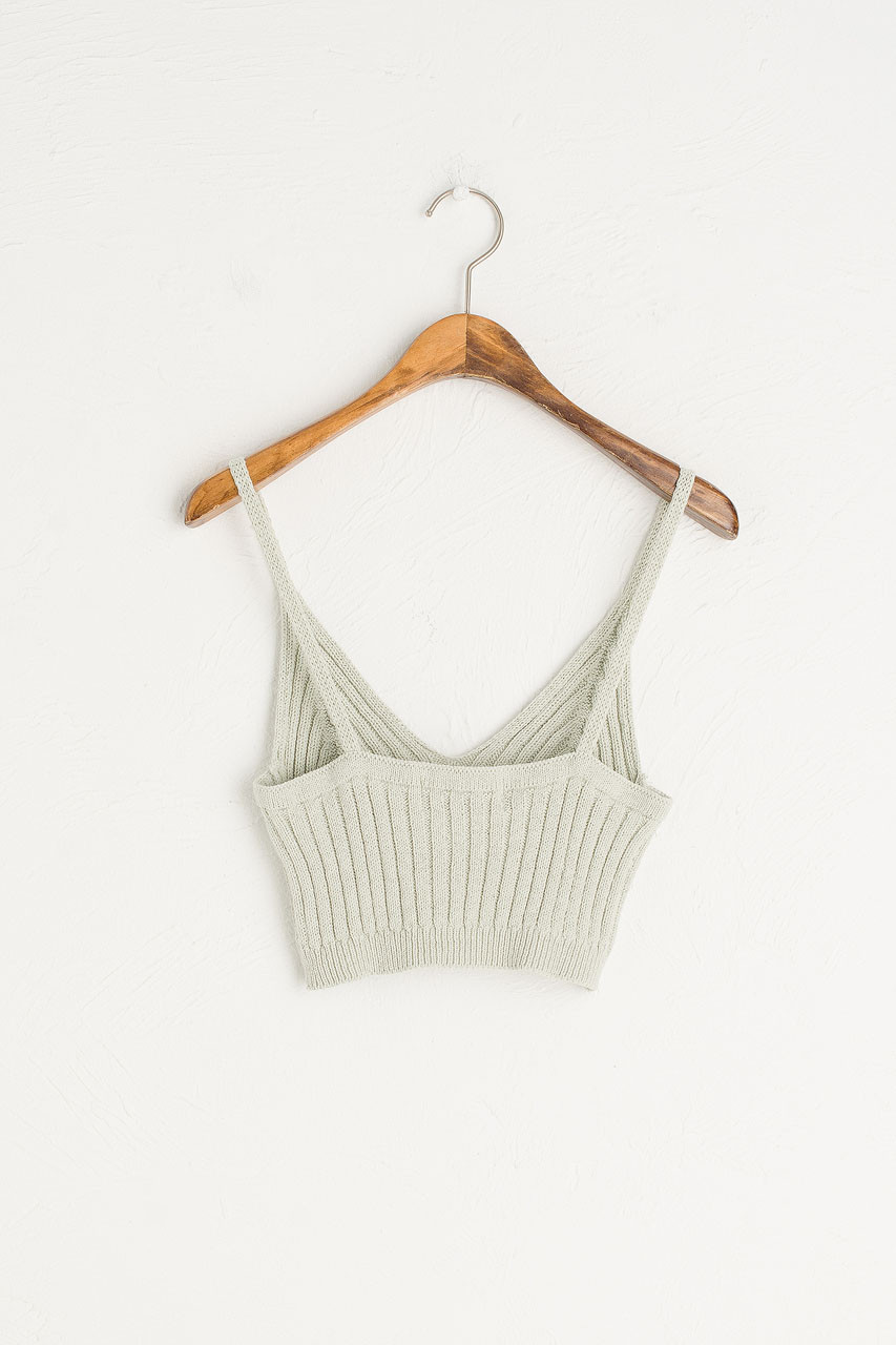 Knit Crop Bustier, Mint
